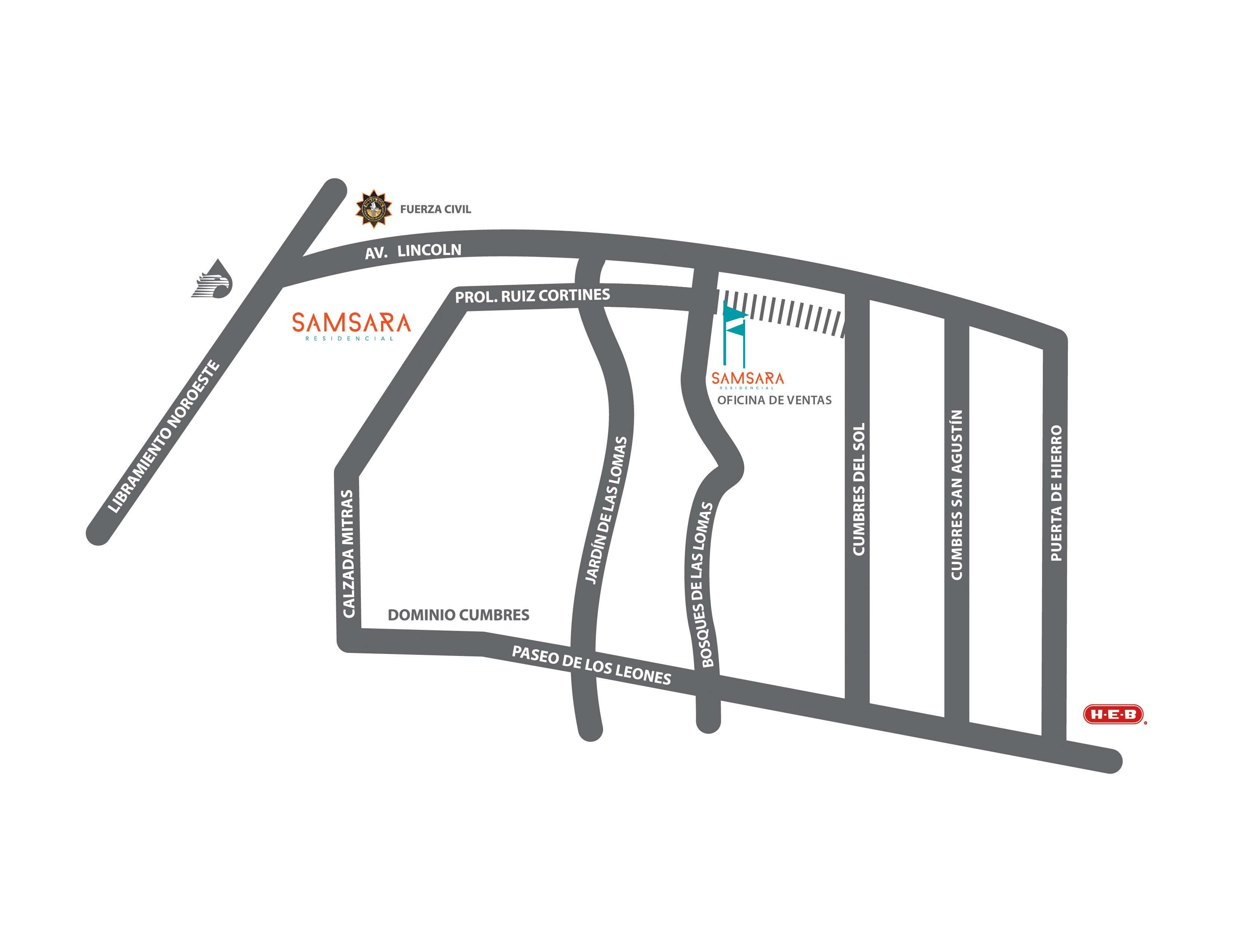 Croquis fraccionamiento Samsara